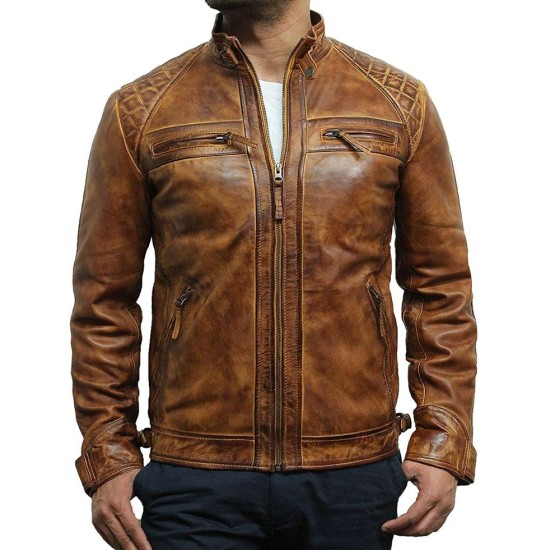Men's Retro Style Casual Waxed Tan Brown Leather Jacket