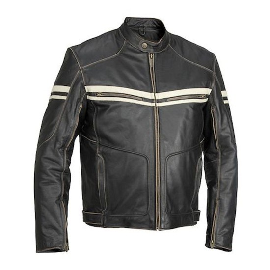 Men's Vintage Black Leather Biker Jacket with White Striped Design