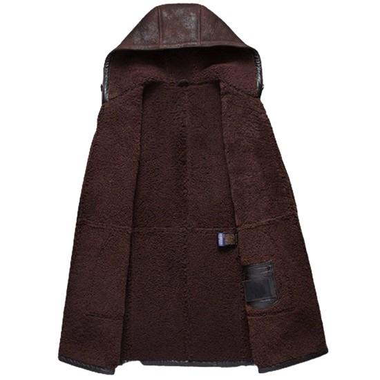 Men's Dark Brown Shearling Winter Leather Hooded Coat