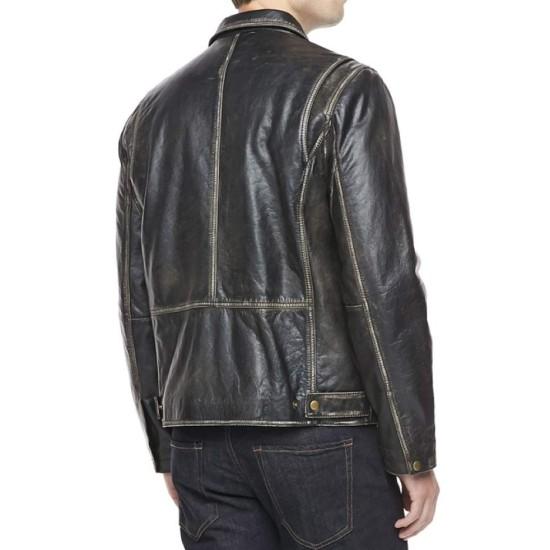 Men's Shirt Collar Distressed Black Leather Jacket