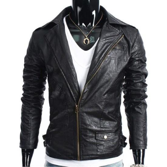 Men's Slim Fit Biker Style Wrinkled Leather Jacket