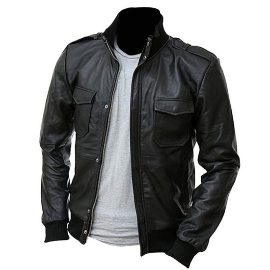 Men's Biker Style Slim Fit Bomber Black Leather Jacket