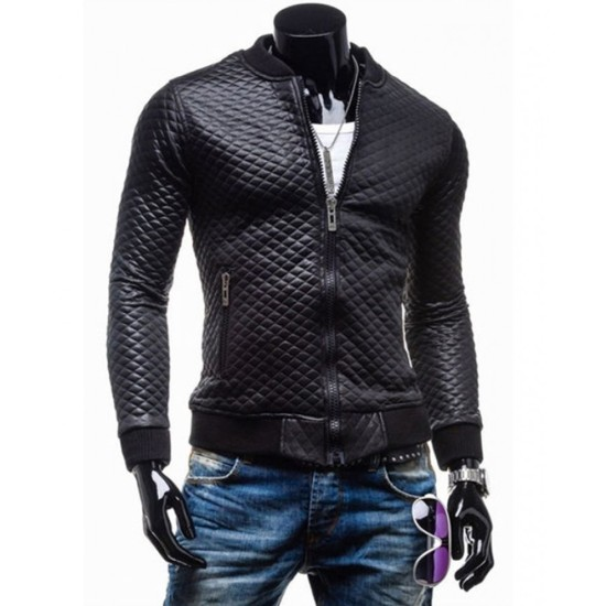 Men's Slim Fit Black Faux Leather Quilted Jacket