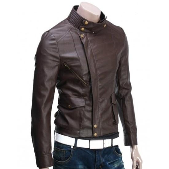 Men's Brando Style Slim Fit Brown Leather Jacket