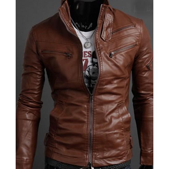 Men's Slim Fit Multi Zipper Pocket Brown Faux Leather Jacket