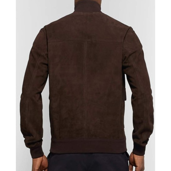 Men's Slim Fit Brown Suede Leather Bomber Jacket