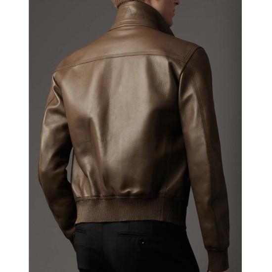 Men's Slim Fit Flap Pockets Bomber Brown Jacket