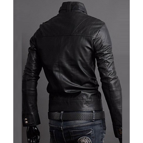 Men's Slim Fit Multi Pocket Buckle Collar Black Faux Leather Jacket