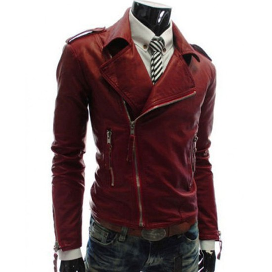 Men's Asymmetrical Zipper Style Faux Slim Fit Red Leather Jacket