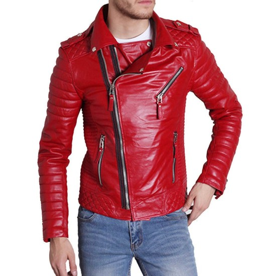 Men's Asymmetrical Style Slim Fit Padded Red Leather Moto Jacket