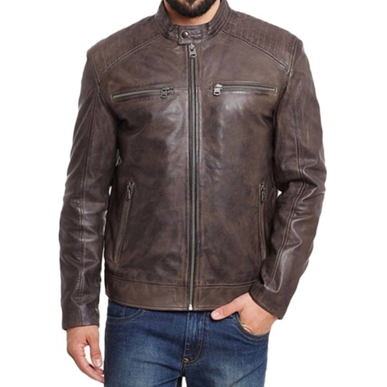 Men's Motorcycle Snap Button Brown Waxed Leather Jacket