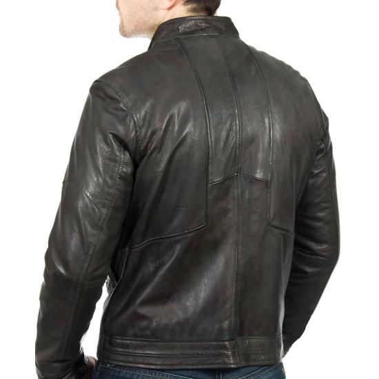 Men's Snap Tab Collar Slate Black Leather Jacket