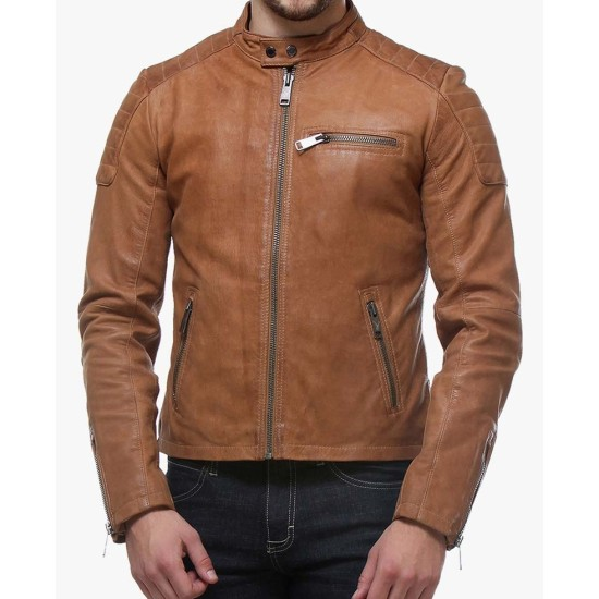 Men's Snap Button Motorcycle Tan Brown Leather Jacket