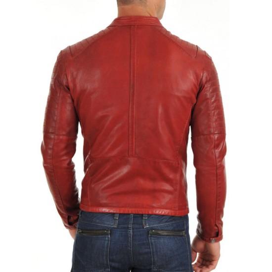 Men's Asymmetrical Zipper Style Red Leather Motorcycle Jacket