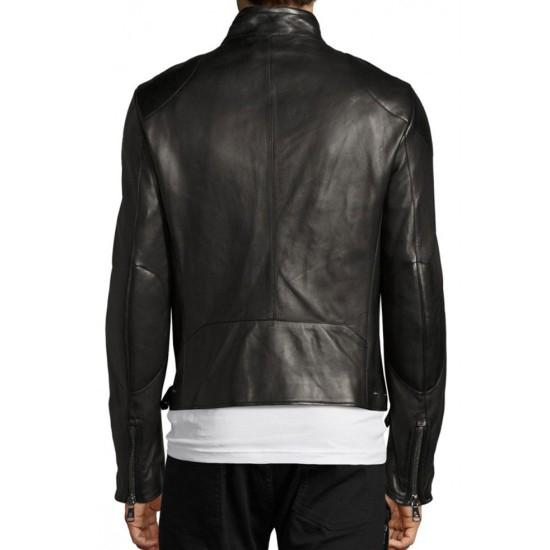 Men's Biker Style Cafe Racer Black Leather Jacket