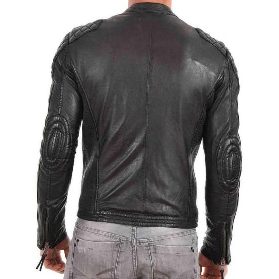 Men's Quilted Shoulder Design Snap Tab Collar Black Leather Jacket