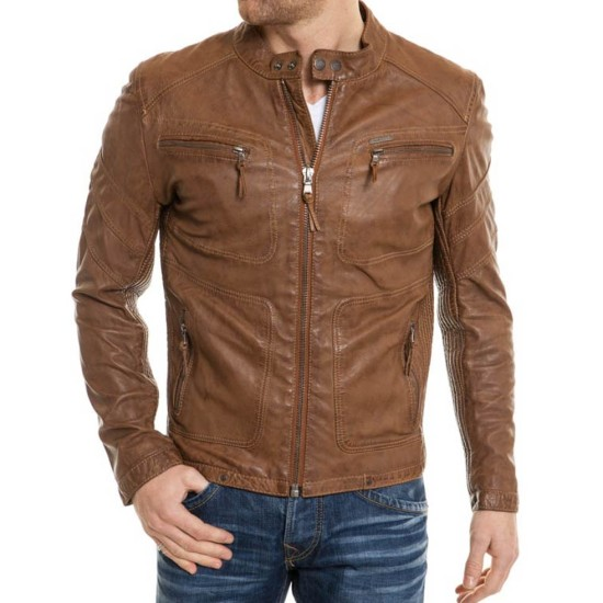 Men's Snap Tab Collar Biker Real Brown Leather Jacket