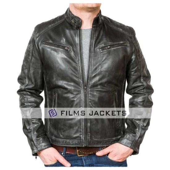 Men's Charcoal Stand Collar Black Leather Biker Jacket