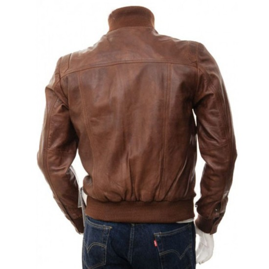 Men's Motorcycle Stand Collar Brown Leather Bomber Jacket