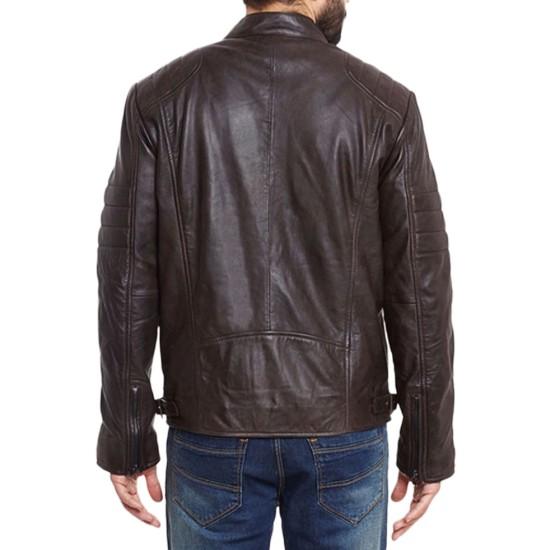 Men's Biker Brown Stand Collar Jacket