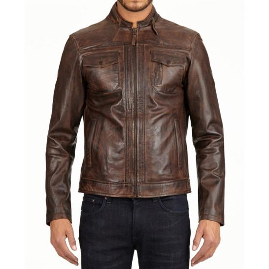 Men's Stand Collar Distressed Brown Leather Motorcycle Jacket
