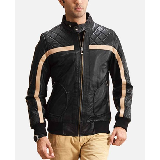 Men's Striped Diamond Quilted Bomber Black Leather Jacket