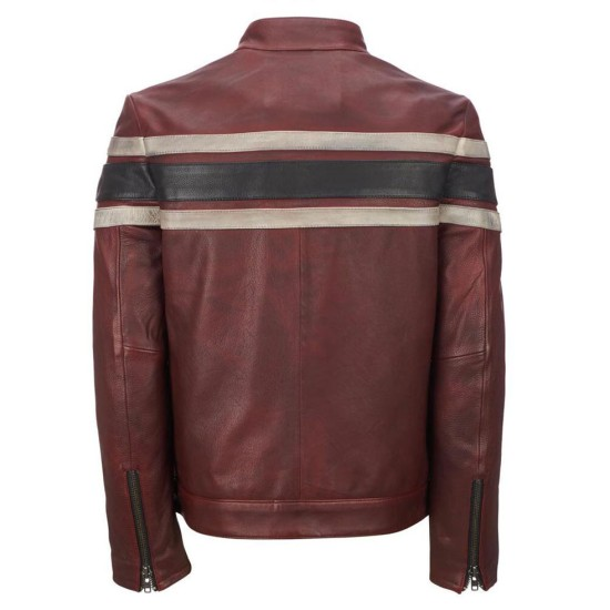 Men's Red Waxed Retro Leather Jacket