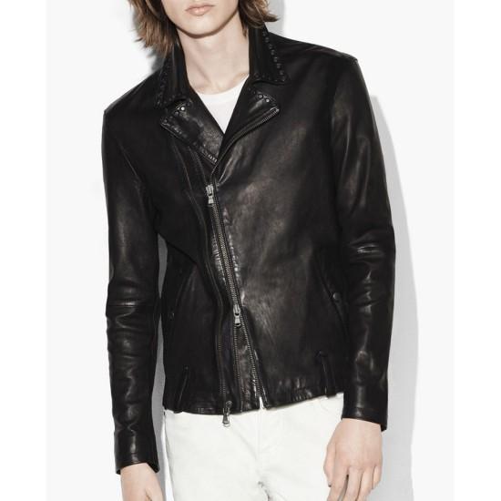 Men's Asymmetrical Studded Collar Black Leather Moto Jacket