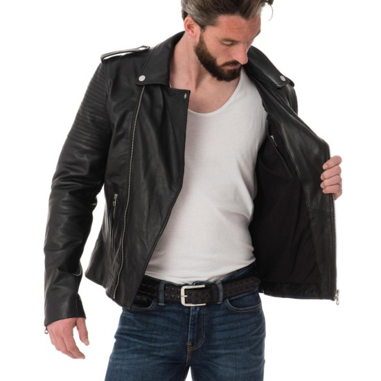 Men's Asymmetrical Zipper Stylish Black Leather Biker Jacket