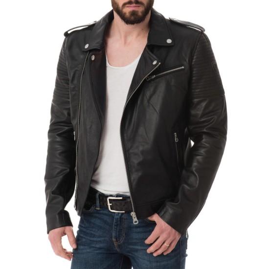 Men's Asymmetrical Zipper Stylish Black Leather Biker Jacket
