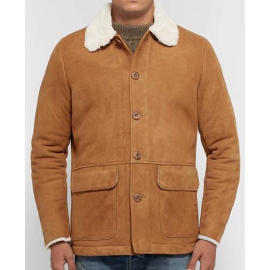 Men's Tan Brown Suede Button Closure Leather Jacket
