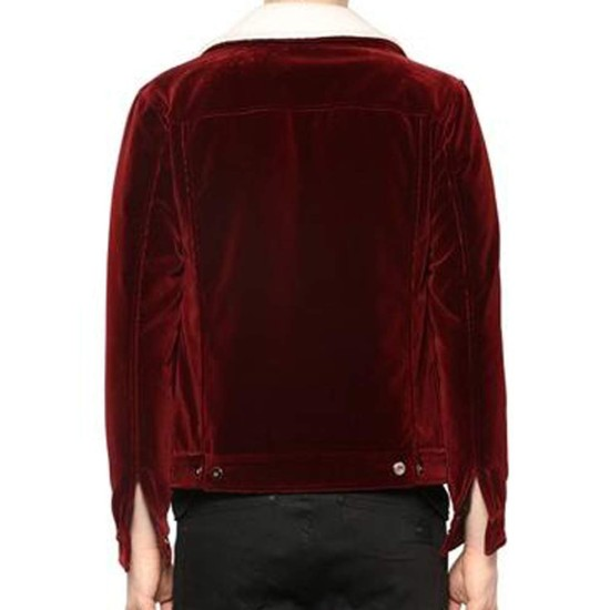 Men's Velvet Red Jacket with Faux Fur Collar