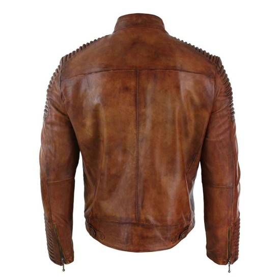 Men's Cafe Racer Vintage Distressed Brown Leather Jacket