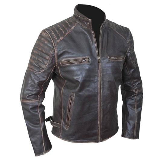 Men's Vintage Motorcycle Brown Waxed Leather Jacket