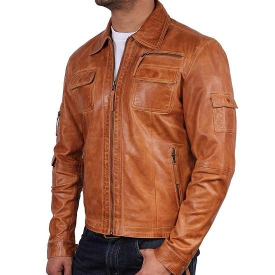 Men's Vintage Tan Brown Real Leather Jacket