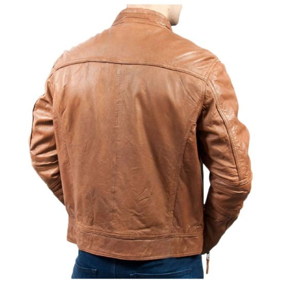 Men's Motorcycle Vintage Soft Tan Leather Jacket