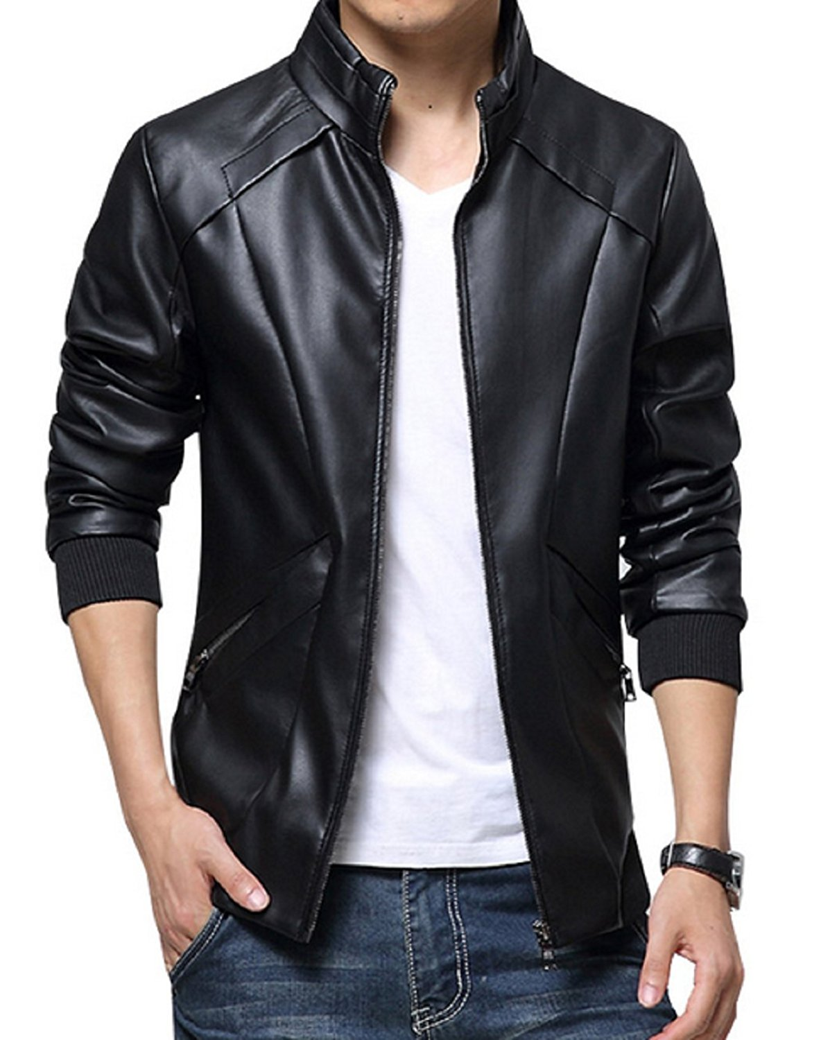 Presentatore Età adulta Leonardoda  Men's Waist Pockets Simple Black Leather Jacket - Films Jackets