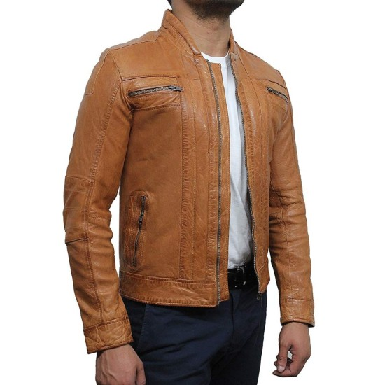Men's Motorcycle Tan Brown Washed Leather Jacket