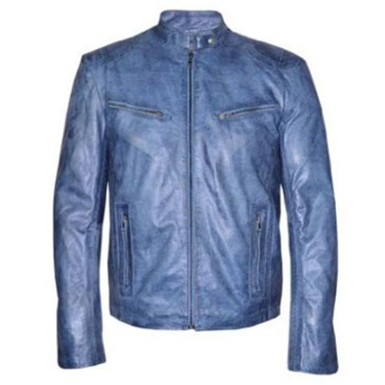 Men's Motorcycle Washed Blue Leather Jacket