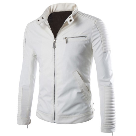 Men's Biker Washington White Leather Jacket
