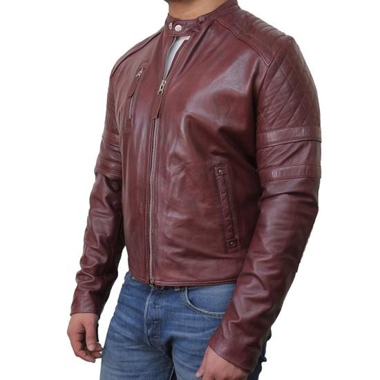 Men's Quilted Shoulders Burgundy Moto Jacket