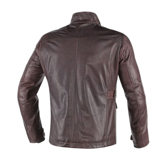 Men's Mid Length Waxed Brown Leather Jacket