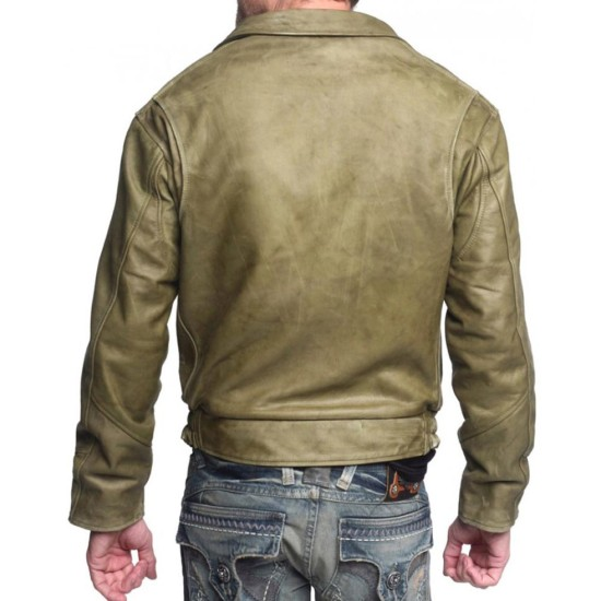 Men's Olive Green Waxed Leather Jacket