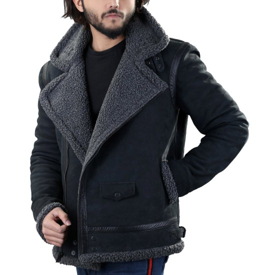 Men's Winter WFJ013 Grey Shearling Black Leather Jacket