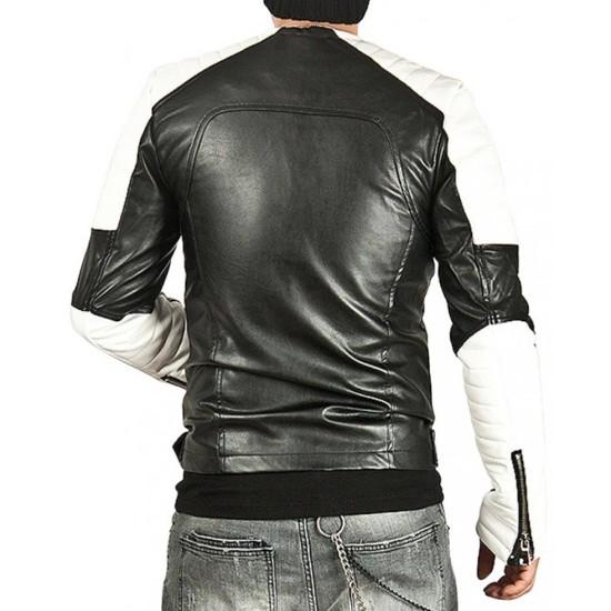 Men's White Padded Design Black Leather Biker Jacket