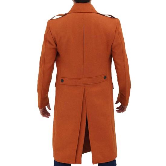 Men's Winter Orange Double Breasted Coat