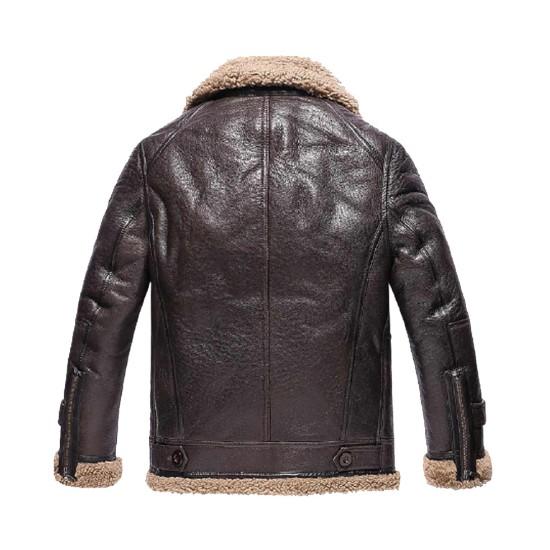 Men's Winter Shearling WFJ010 Dark Brown Leather Jacket