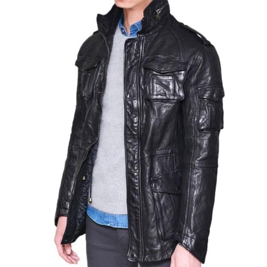 Men's Zipper Collar Design Mid Length Lambskin Black Jacket
