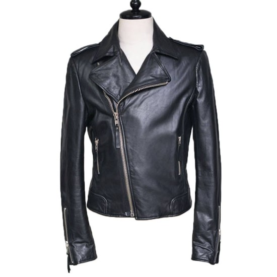 Men's Asymmetrical Zipper Cuff Motorcycle Black Leather Jacket