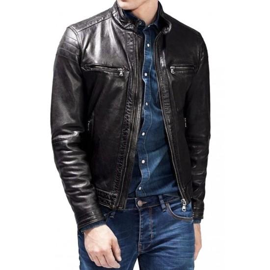 Men's Snap Tab Collar Biker Zipper Pocket Jacket